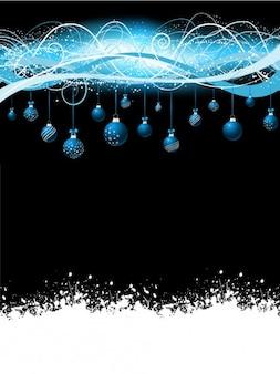 Natale sfondo nero con appesi palline blu