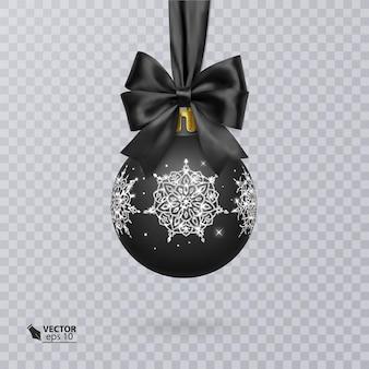 リアルな黒い弓と光沢のある銀の飾りで飾られた黒いクリスマスボール