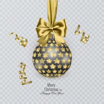 リアルなゴールドのリボンときらびやかな星で飾られたブラックのクリスマスボール