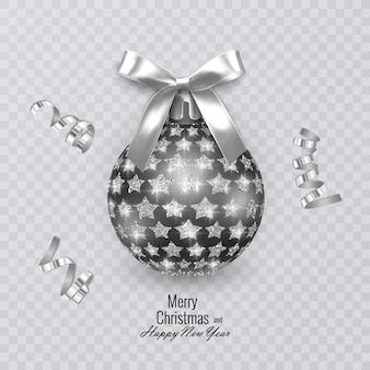 リアルな白い弓と光沢のあるきらびやかな星の飾りで飾られた黒いクリスマスボール