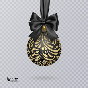 Black christmas ball decorated with a realistic black bow and a shiny gold ornament