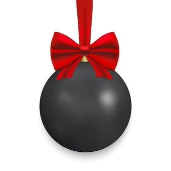 Black christmas ball with ribbon and a bow