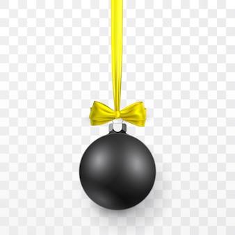 Черный рождественский бал с желтым бантом. рождественский стеклянный шар на прозрачном фоне. шаблон оформления праздника.