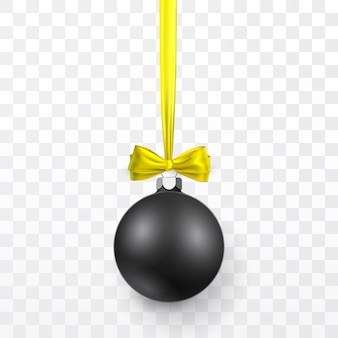 Black christmas ball with yellow bow. xmas glass ball on transparent background. holiday decoration template.