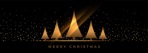 Black christmas banner with golden tree