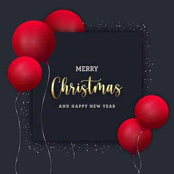 Black christmas banner with red baloons