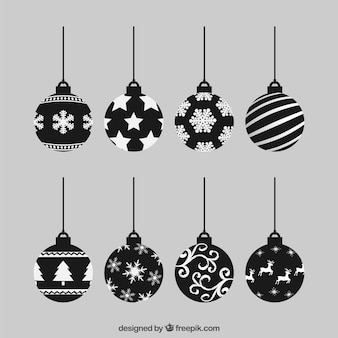 Black christmas baubles collection