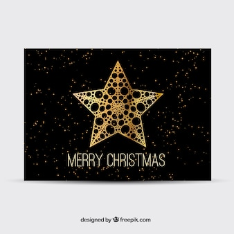 Black christmas card with q golden star