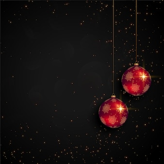 Black christmas festival card with realistic ball