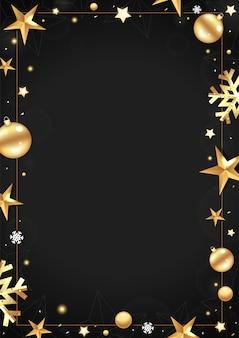 あなたのテキストのための場所と黒のクリスマスフレーム