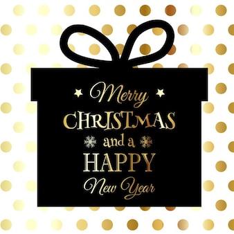 Natale e capodanno con il backgrund forma regalo su sfondo maculato