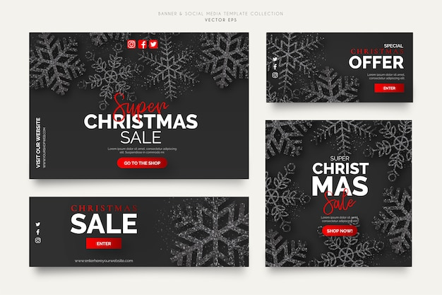 Black christmas sale banner templates