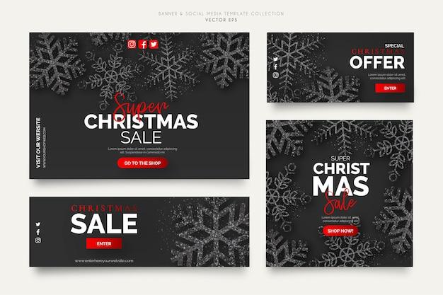 Black christmas sale banner templates