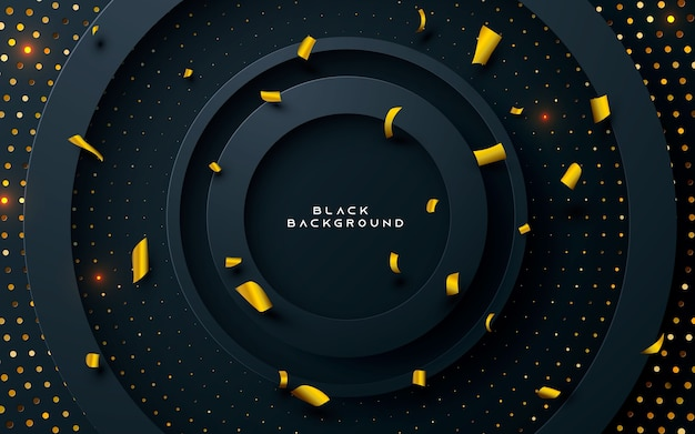 Black circle layer background with gold  glitters