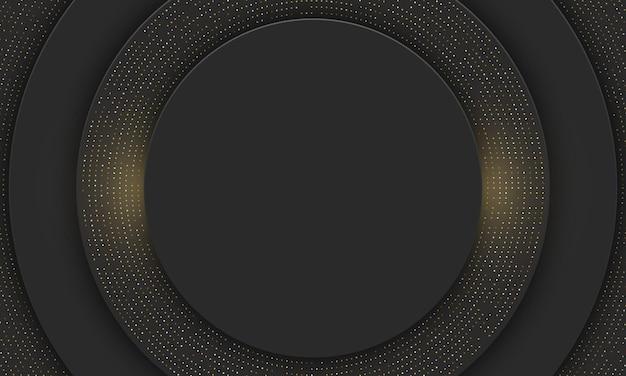 Black circle with gold dot banner background. vector illustration.