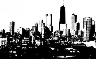 Black city skyline monochrome background
