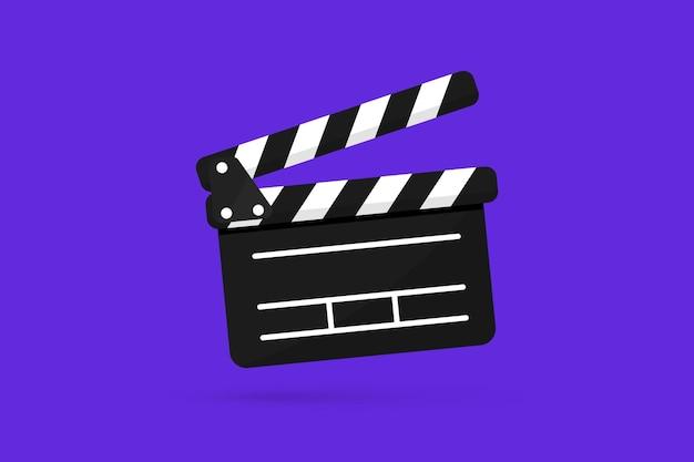 플랫 스타일의 버튼 플레이어가 있는 블랙 클래퍼 보드 아이콘. clapperboard 벡터 일러스트 레이 션. 영화 필름 클래퍼 보드. 영화 제작 또는 비디오 영화, 촬영 장치, 영화 제작