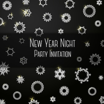 Black classic colored invitation on new year party with snowflakes