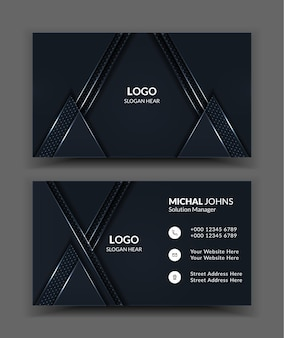 Black clean business card templates.
