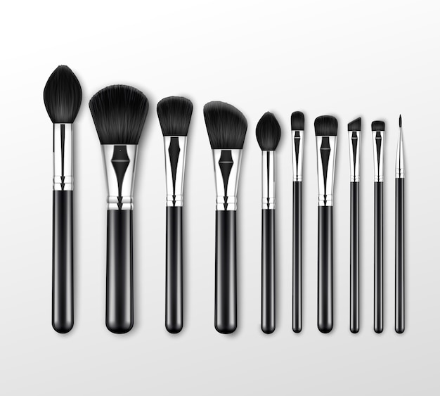 Black clean professional makeup brushes