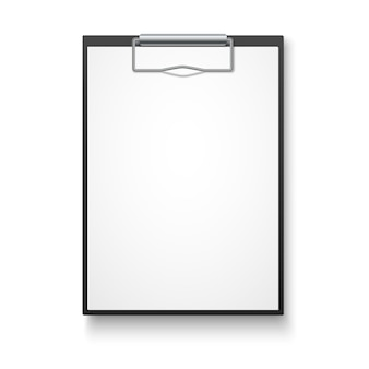 Black clipboard with blank white sheet.
