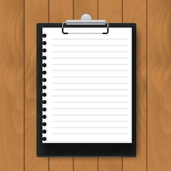 Black clipboard with lined paper on wood background. mockup vector business template