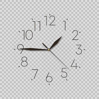 透明な背景に黒い時計。時計アイコンベクトル。