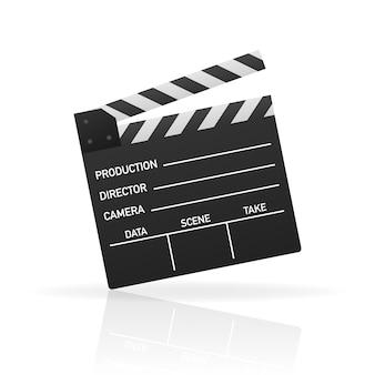 黒い閉じたカチンコ。黒い映画のスレートボード、映画制作やビデオ制作で使用されるデバイス。