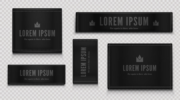 Black cloth labels for premium apparel, brand tags