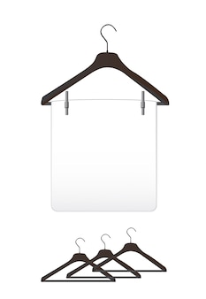 Black clothes hangers over white