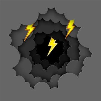 검은 구름과 노란색 번개 종이 아트 배경 천둥 폭풍 효과 플래시 벡터
