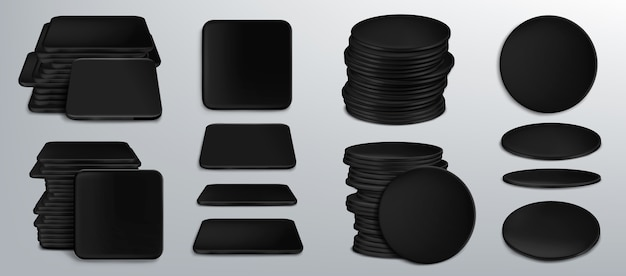 Black coasters for beer cups or tankards, blank cardboard mats for mug of square and round shapes