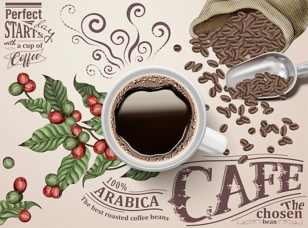 Black coffee ads, top view of  illustration black coffee on retro engraving coffee cherries and beans background