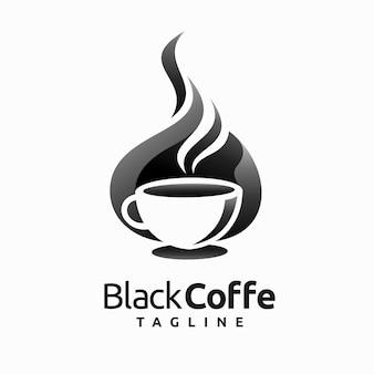 マグカップのコンセプトとブラックコーヒーのロゴ