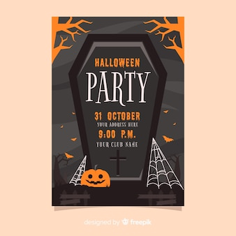 Black coffin halloween party poster template
