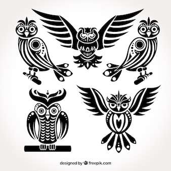 Black collection of owls