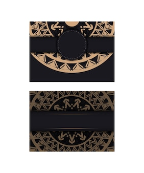 브라운 빈티지 패턴으로 블랙 컬러 브로셔 템플릿