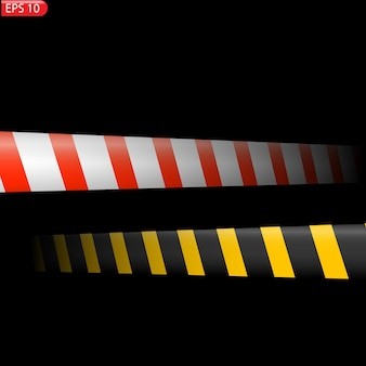 Black and color caution lines isolated realistic warning tapes danger signs