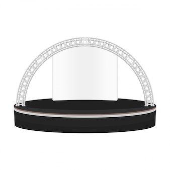 Black color flat style dais round stage metal truss illustration