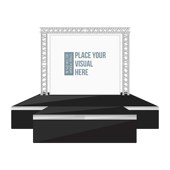 Black color flat style high podium stage with banner on metal truss
