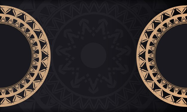 Black color flyer template with brown indian pattern