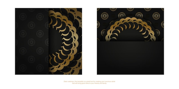 Black color flyer with gold indian ornament