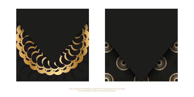 Black color flyer with golden indian pattern