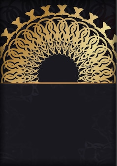 황금 인도 패턴으로 블랙 컬러 인사말 카드 서식 파일