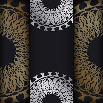골든 빈티지 패턴 블랙 컬러 인사말 카드 서식 파일
