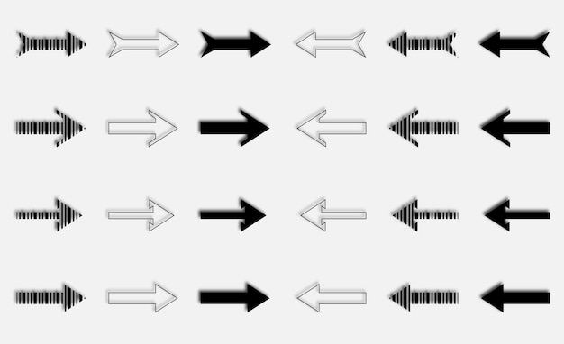 Черная цветная новая коллекция плоских стрелок с вправо и влево бесплатные векторы
