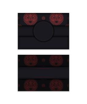 Дизайн открытки черного цвета с маской богов. дизайн приглашения с местом для текста и лицом в полизенском стиле.