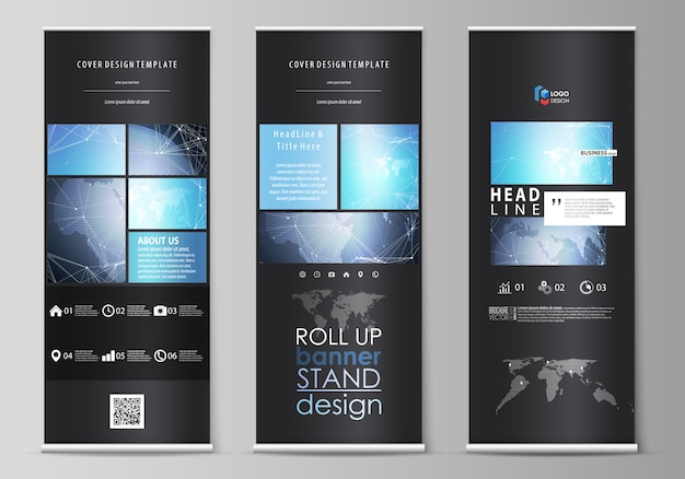 Black colored illustration the layout of roll up banner stands, vertical flyers, flags business templates. abstract global . chemistry pattern, molecule structure.