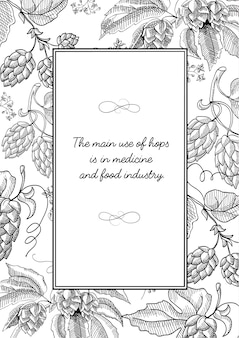Квадратная рамка черного цвета с мультфильмами хмеля с ягодами, листвой и множеством декоративных завитушек
