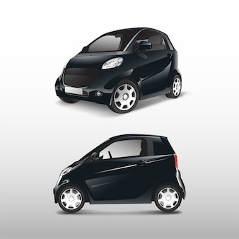 Black compact hybrid car vector